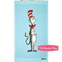 Flannel The Cat in the Hat Light Blue Story Time Cat Quilt PanelSKU