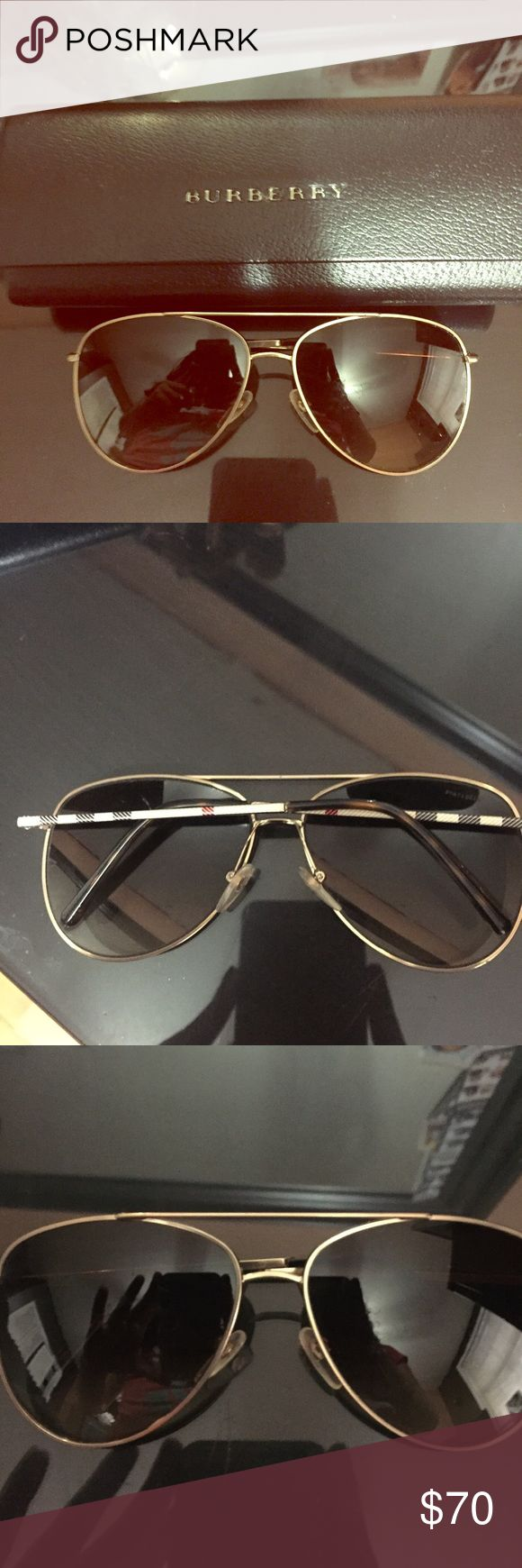 Burberry Gold Check Arm Women's Aviator Sunglasses Great sunglasses. Never wear. Original price is 210$. Some fine scratches(mostly dust particles) only shown with flash. Lenses can be replaced. No significant damage. Purchased years ago. May need to be adjusted to face by an Optician. Burberry Other