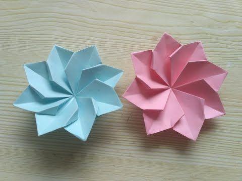 DIY 纸工艺 漂亮的花朵用一张纸就能折成 - YouTube