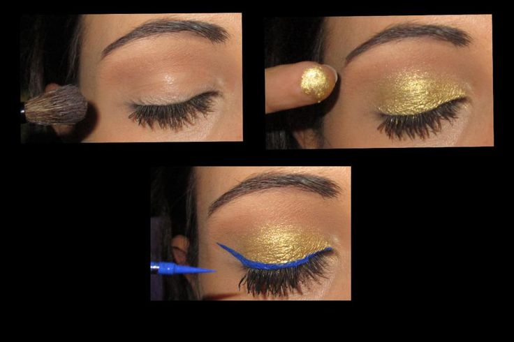 gold and blue makeup