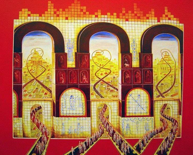 Metropolis oil on canvas 100x90 year 2006 Santiago Ribeiro