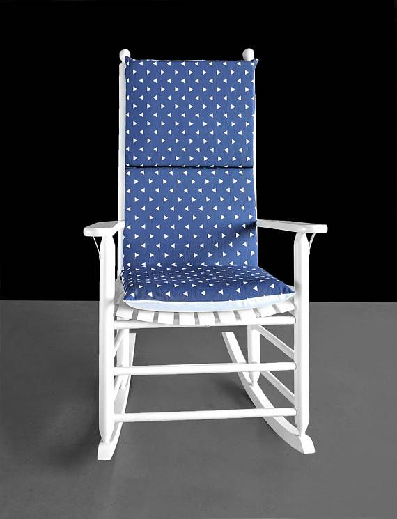 Indigo Blue Triangles Rocking Chair Cushion Chair Covers, Chair Pads,  Outdoor Furniture, Outdoor
