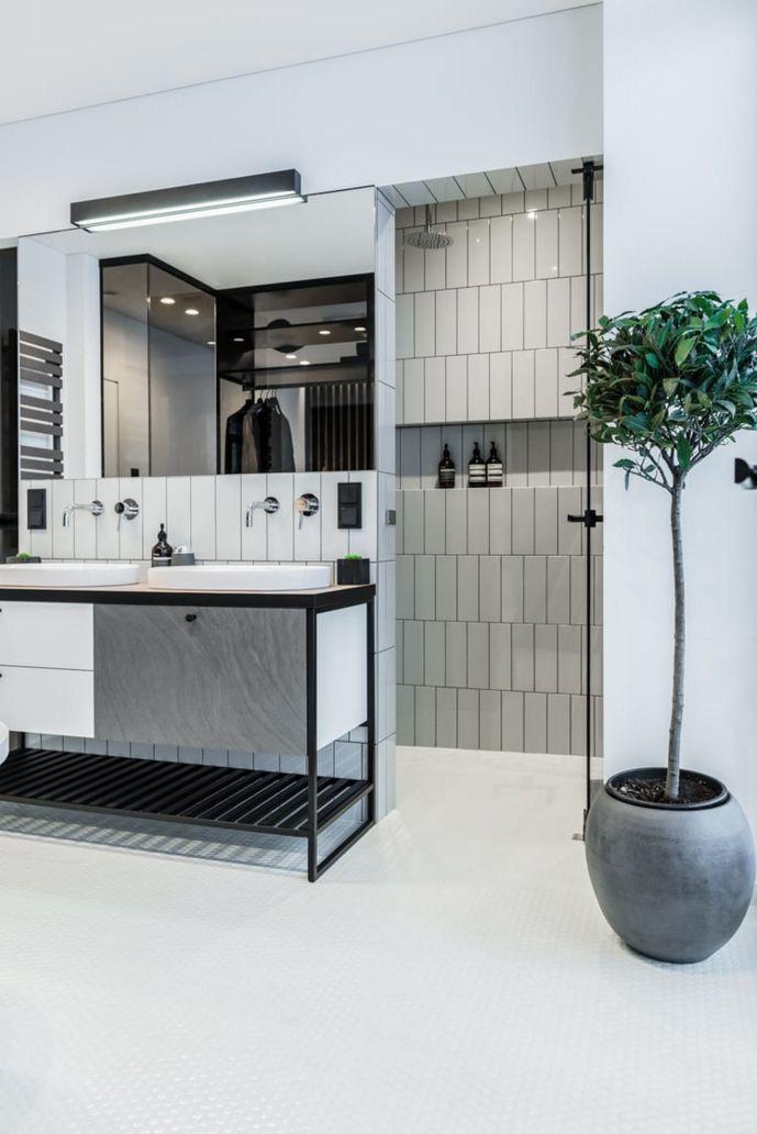simple bathroom design white subway tiles modern look