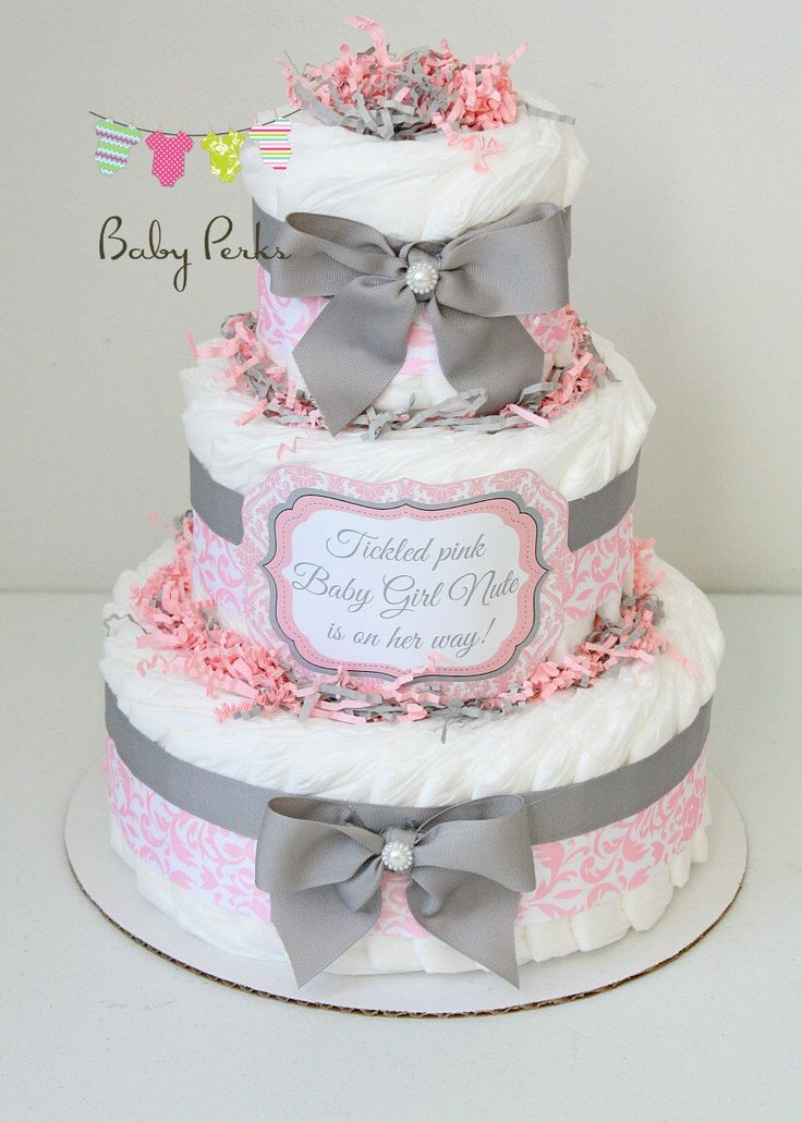 Pink Damask Diaper Cake, Pink and Grey Baby Shower , Baby Shower Decorations , Grey and Pink Diaper Cake by MsPerks on Etsy https://www.etsy.com/listing/113915218/pink-damask-diaper-cake-pink-and-grey