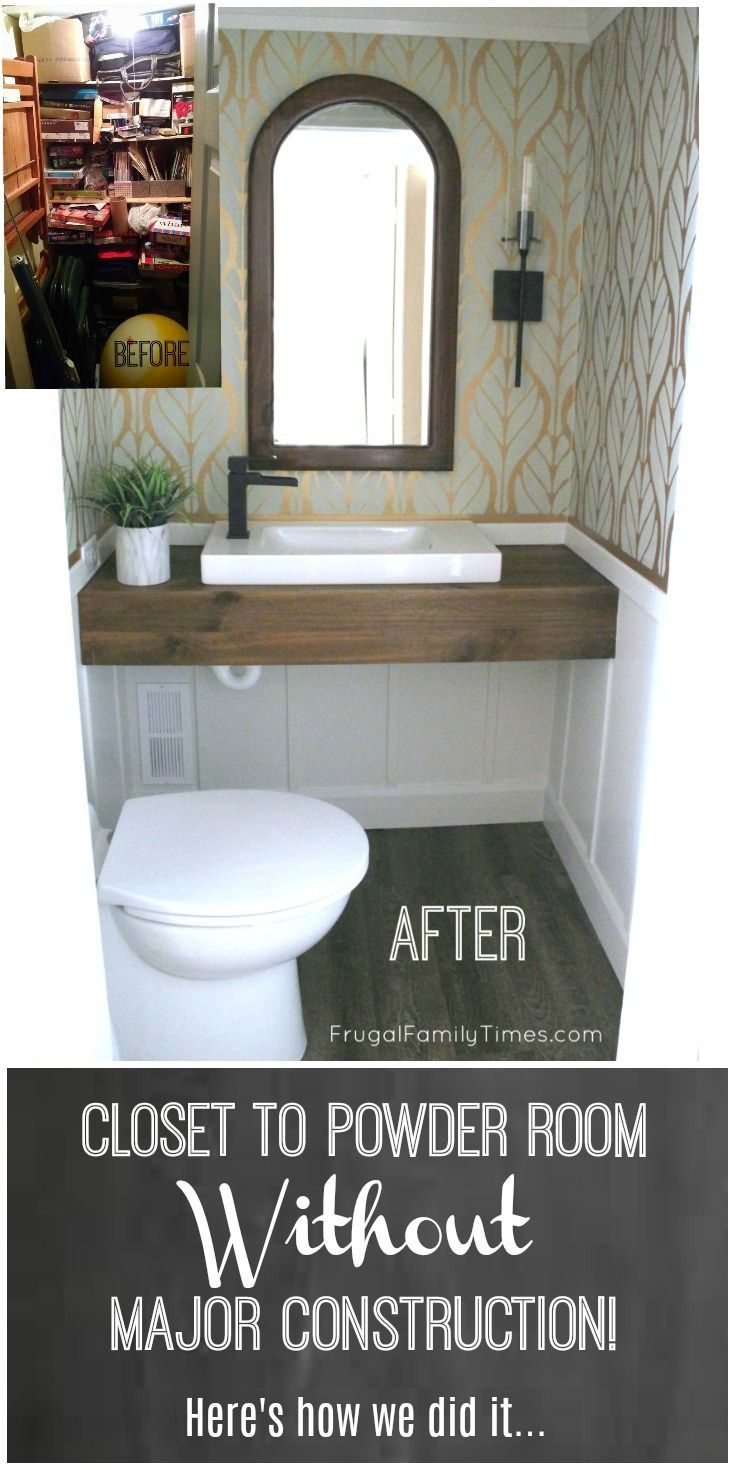 Diy How We Made A Bathroom In Our Basement Without Breaking Concrete Frugal Family Times Modern Powder Rooms Basement Closet Add A Bathroom