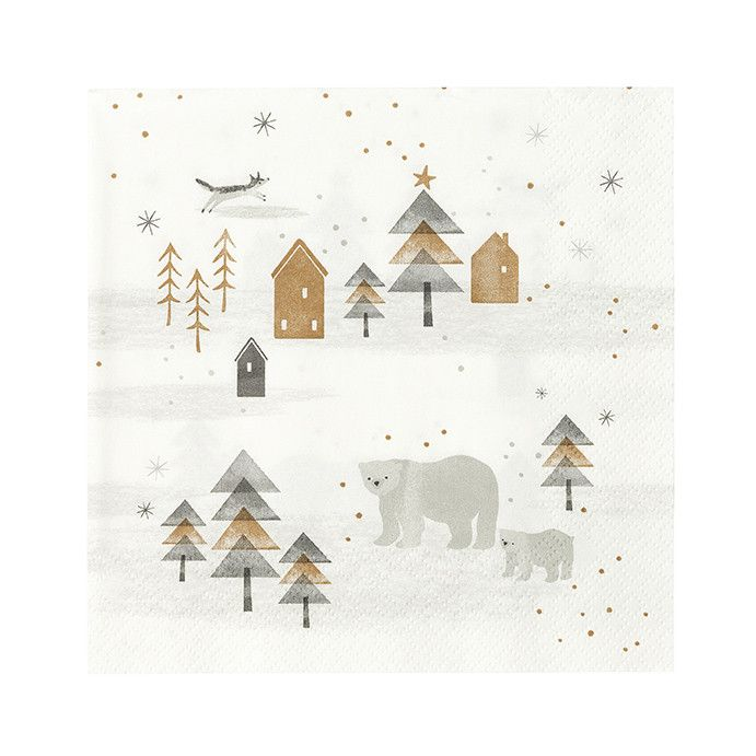 These Nordic Winter napkins feature a Scandinavian design of geometric trees, polar bears and a friendly fox. Use them with coordinating colors of your choice for the holidays! Matching items are avai