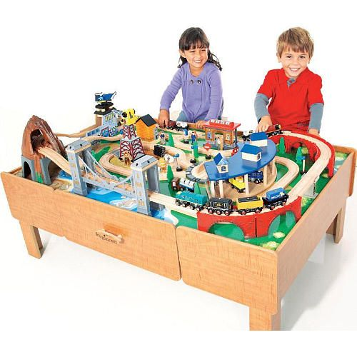 imaginarium classic train table with roundhouse wooden train set 1