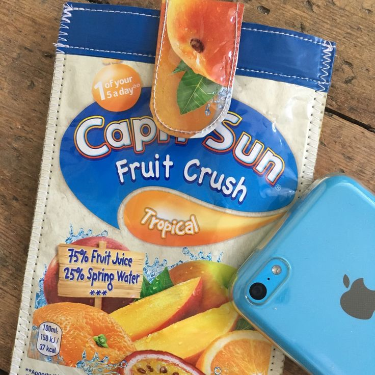 Cool phone pouch handmade by me from upcycled Capri Suns ♻️❤️