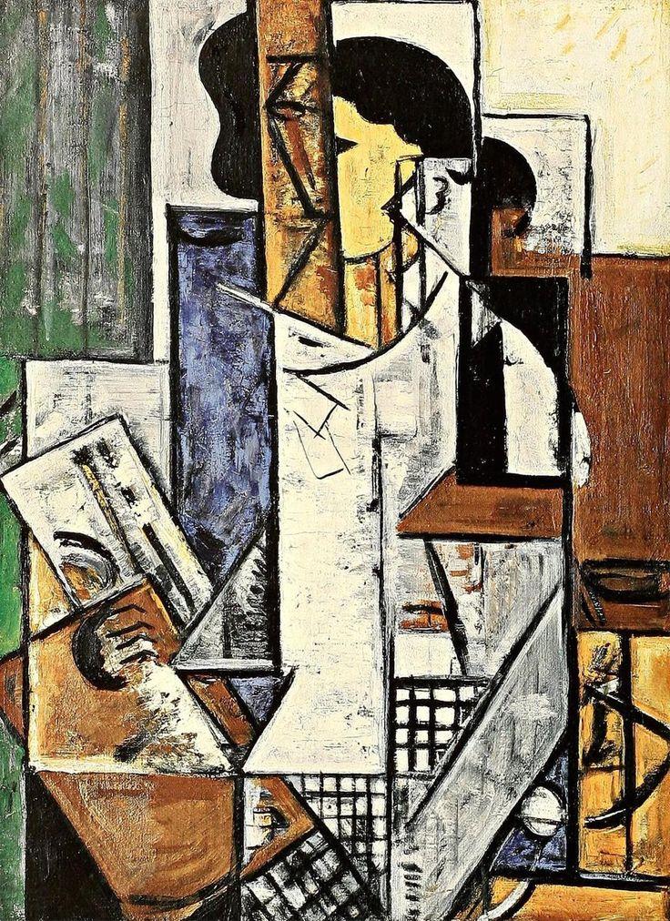 Russian avant-garde artist Nadezhda Udaltsova, Self Portrait with Palette, 1915