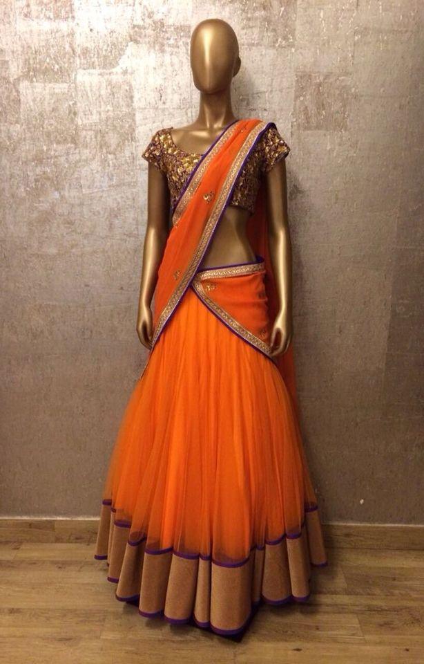 Stunning orange half Saree !