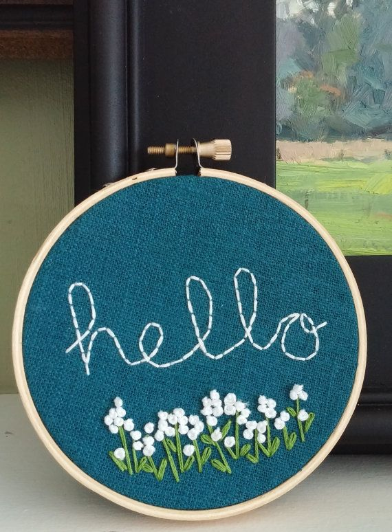 Hello Welcome Sign Hand Embroidered Welcome Sign Hello by KasiaJ