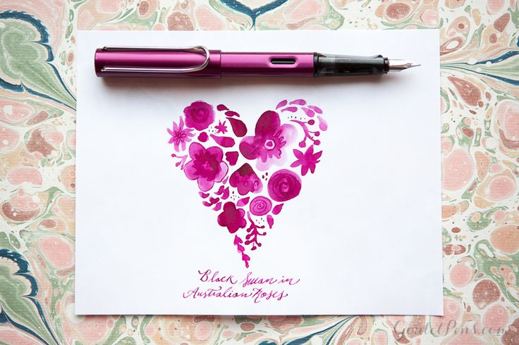 Goulet Pens Blog: #RelationshipGoals: 6 Pen and Ink Pairings That Are Made For Each Other. Pictured: Lamy Al-Star Purple  pen with Noodler's Black Swan in Australian Roses ink.