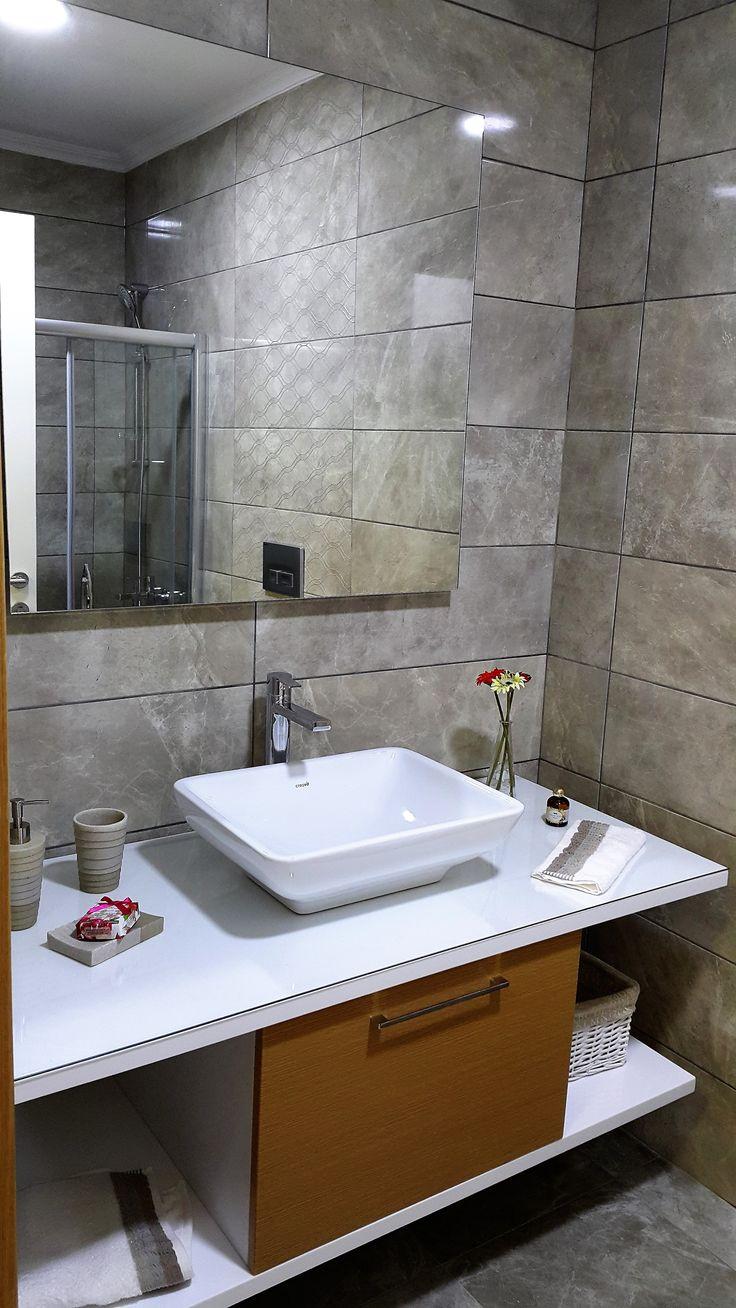 #banyo dekorasyonu #banyo tasarımı #şık #özel tasarım banyo tezgahı #banyo dolabı #ferah #rahat #banyo aynası #Vadişehir Örnek Daire
