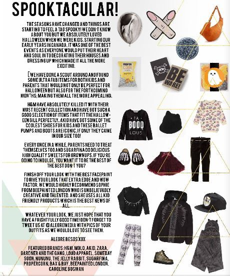 Alegre Media's 'Spooktacular' fashion piece in the October/November issue of The Little Revolution Magazine! Read the issue here http://www.thelittlerevolution.co.uk/#/october-november/ #alegremedia