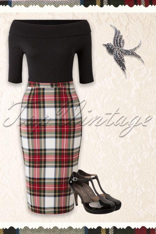 Bunny Jodie Stewart Tart Check Red Green Pencil Skirt 120 59 16739 20150831 0009W