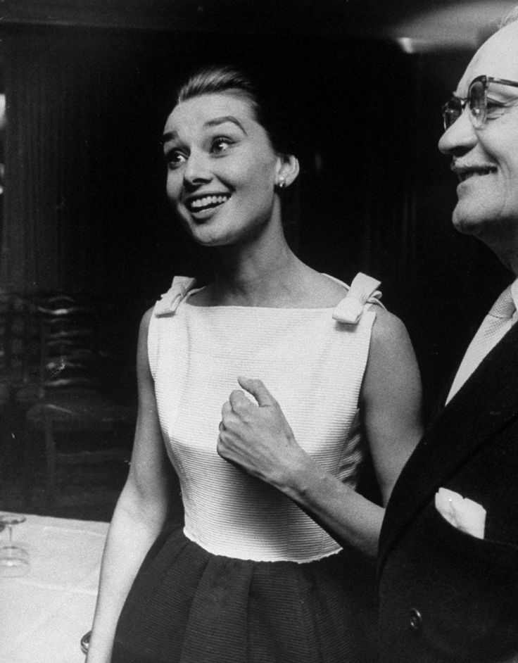 The actress Audrey Hepburn photographed by Len Waernberg during a cocktail at the Hotel Hassler (on the Piazza Trinità dei Monti) in Rome (I...