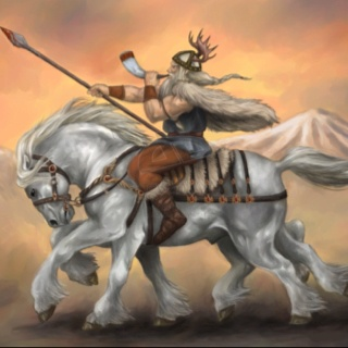 Odin riding his 8 legged steed Sleipnir. Odin was the Norse equivalent of Sagittarius.