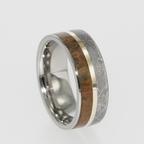 Meteorite Ring, Dinosaur Bone Band, 14K Yellow Gold Pinstripe, Titanium Wedding Band on Etsy, $1,248.00