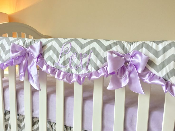 Ritzy Baby Designs, LLC - Lavender and Grey Chevron Crib Rail Cover, $95.00 (http://www.ritzybaby.com/lavender-and-grey-chevron-crib-rail-cover/)