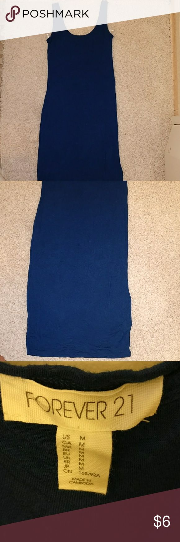 Basic blue fitted dress This long blue stretch dress falls right by one's calves and give the corby hour glass figure. Forever 21 Dresses