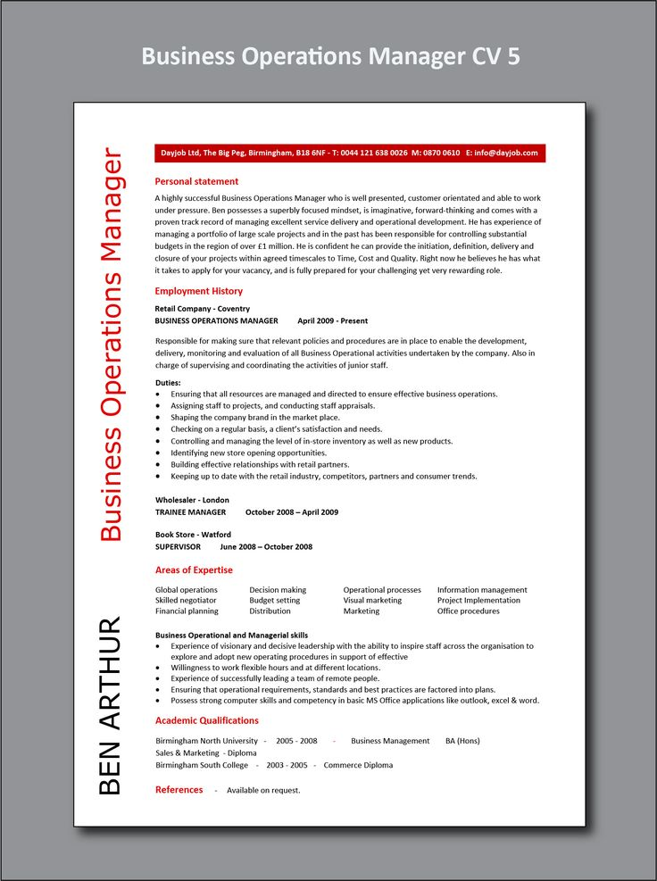 Business Operations Manager CV 5 example, project, PDF