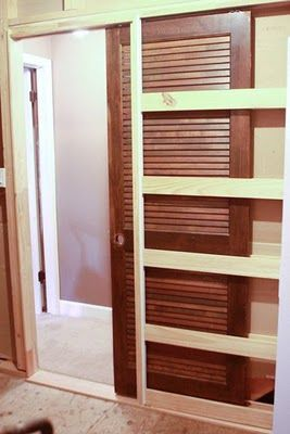 How to install a (louvered) pocket door  http://dickmanfam.blogspot.com/2011/02/how-to-install-pocket-door.html?m=1