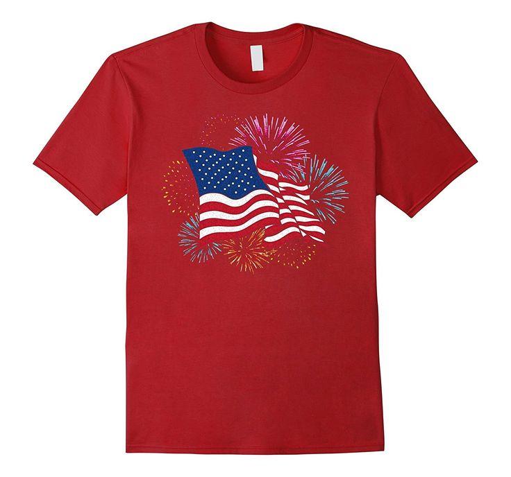 American Flag Patriotic T-Shirt Fireworks