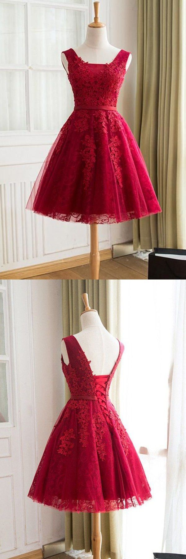 homecoming dresses, 2017 homecoming party dresses, red lace-up party dresses with appliques