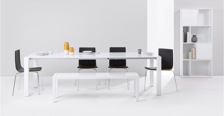 Bramante White Gloss Extending Dining Table | MADE.com