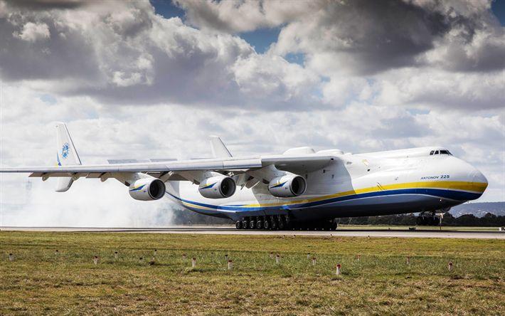 Descargar fondos de pantalla Antonov An-225 Mriya, 4k, avión de carga, el gigante ucraniano, Ucrania, el mayor avión, transporte de carga, An-225, el ucraniano aviones Antonov