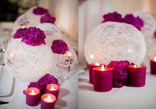 homemade wedding decoration...love the white balls.
