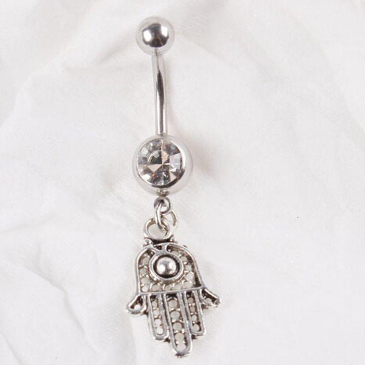 Мода лаки леди фатима рука хамса кольцо живота, Пирсинг ювелирные изделия животных кольца шарма ручной пупок кольца купить на AliExpress