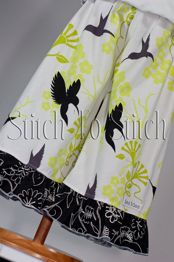Friday DeStash SALE  Girls White Black and by StitchToStitch, $13.00