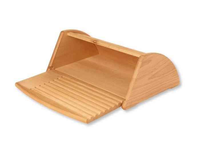 Brotkasten mit integriertem Brotschneidebrett, 43,5x29,5x16 cm, Buche geölt