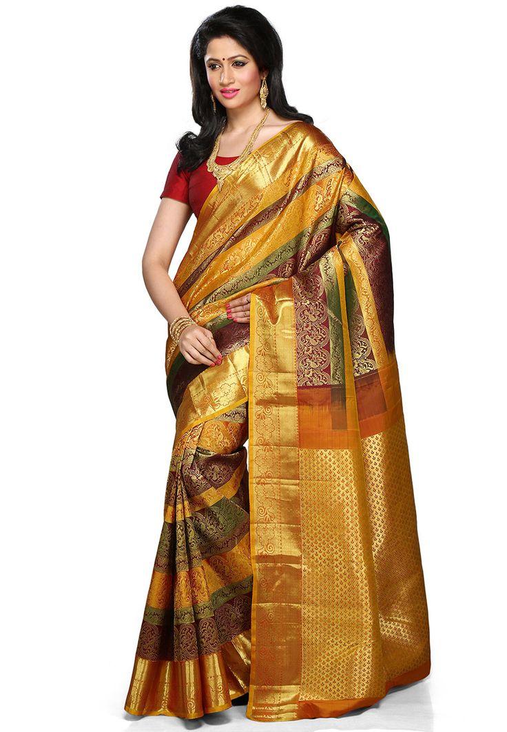 Ochre and Green Pure Handloom Kanchipuram Silk Saree with Blouse: SZA2044