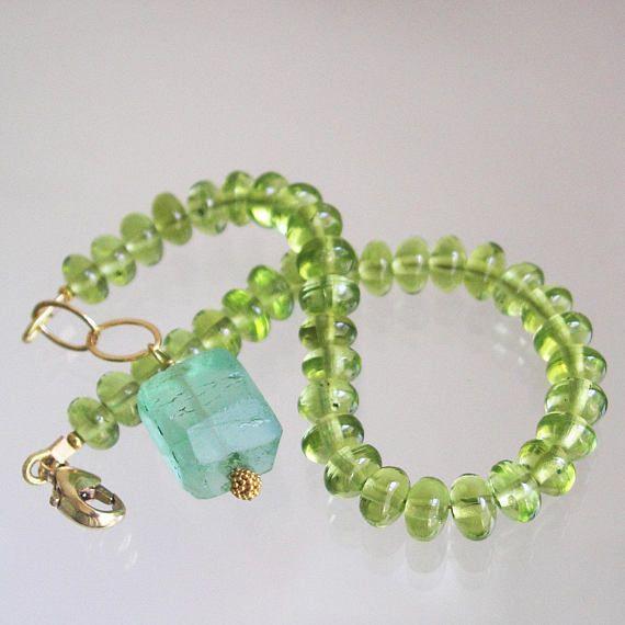 Green Peridot Bracelet Glossy Lime Gemstone Layering