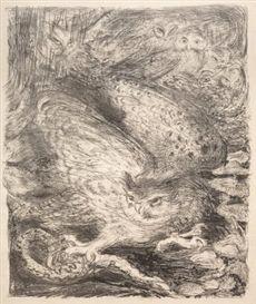 Henri Jules Charles Corneille de Groux: Seven Owls and a Serpent, lithograph, 1900.