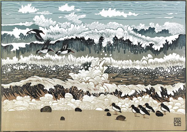Ian Phillips ~ Oystercatchers Wait ~ Linocut, size A2 (594 x 420 mm)