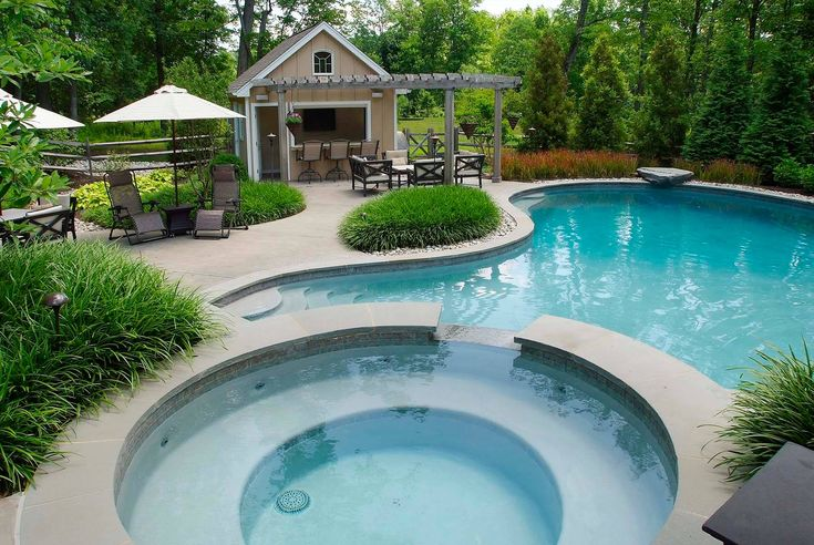 How To Make House Plan With Pool House Designs: Curved Pool With Curved Steps And Hot Tub Also Outdoor Dining Plus Outdoor Chaise Lounge Chairs And Pergola Plus Pine Trees And Pool Deck For Traditional Pool House Design