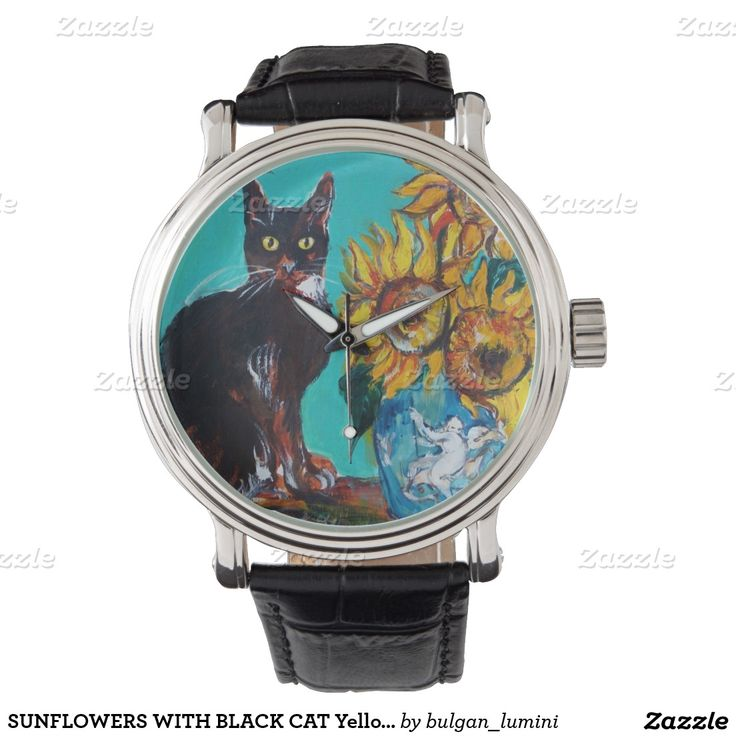 SUNFLOWERS WITH BLACK CAT Yellow Turquoise Blue Wrist Watches #beauty #nature #fineart #animals #cats #floral #flowers