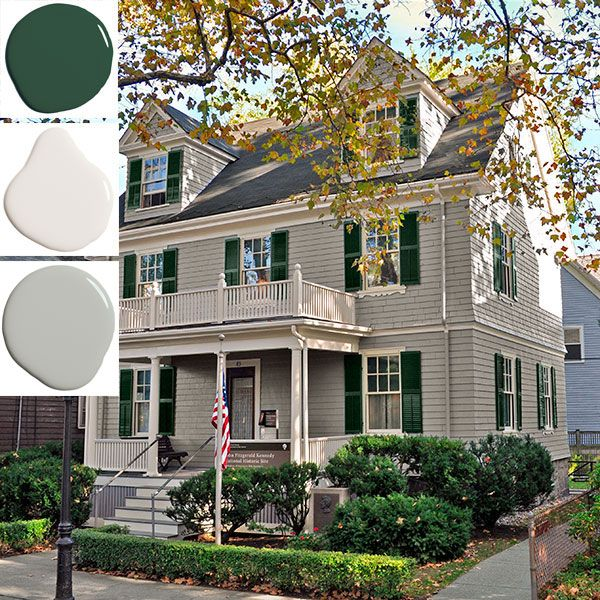 JFK was born in the second-floor master bedroom of this Brookline, Massachusetts Colonial Revival in 1917. After his death, Rose Kennedy repurchased the house, restored it, and donated it to the National Park Service. Benjamin Moore matched the historical hues for the house's recent spruce-up. Shutters, Essex Green; siding, Storm; trim, Navajo White.