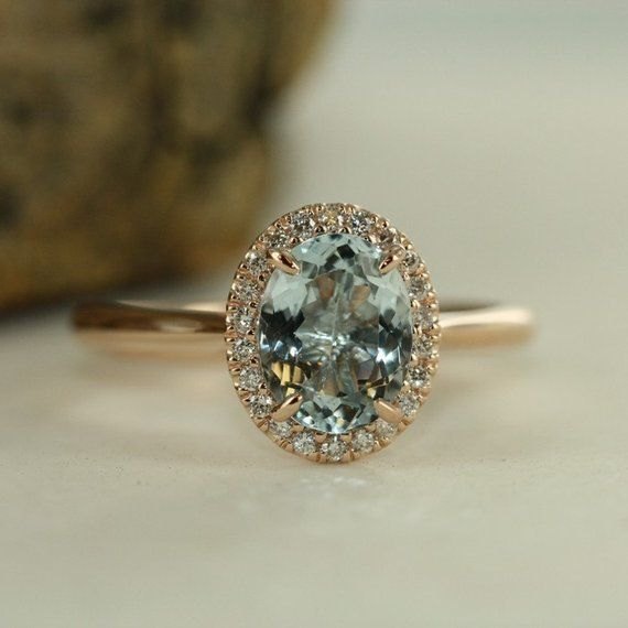 Handmade Natural Aquamarine Engagement Ring In 14K Rose Gold 9x7mm Oval Aquamarine Wedding Ring Halo Diamond Ring-Bridal Set Available