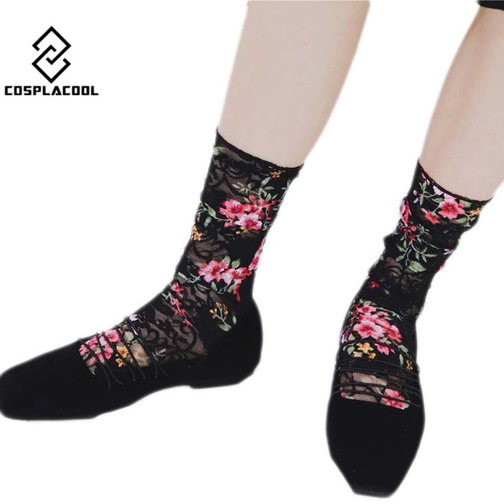 [COSPLACOOL]Transparent Beautiful Roses Art Printing Harajuku High-end fashion Meias Sexy Silk Socks Women Heap heap lace Sox