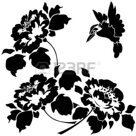 Цветочный: Азиатские обои с цветами и птицами. Бесшовная.