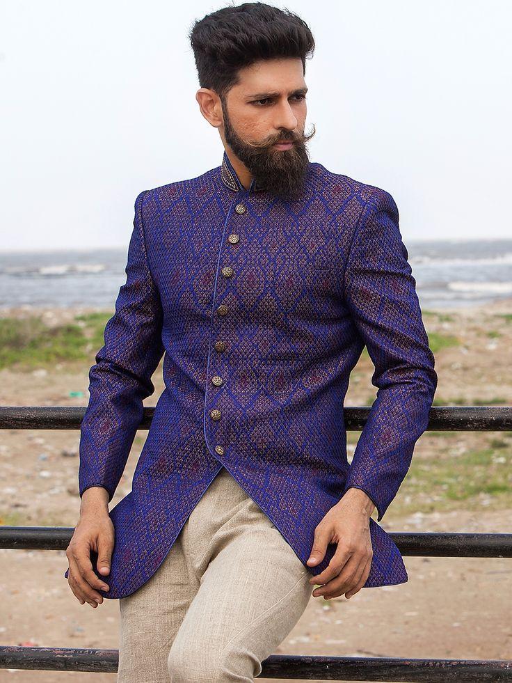 Purple Silk Designer Jodhpuri Suit