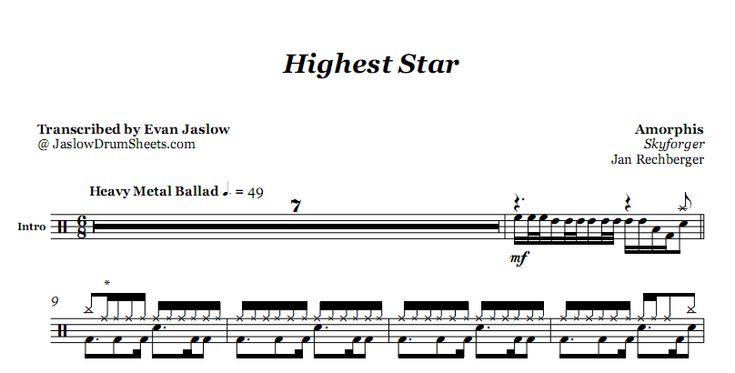 Drum tab sheet music transcription of Highest Star by Amorphis. Taken from the 2009 album Skyforger. Notation key included. Metal. Difficulty 3/5. #drums #drumsheetmusic #amorphis