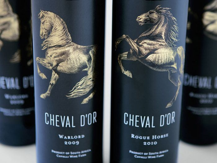 Cheval d Or Wine #Packaging #design - Studio Botes evolved the equine focused identity of the Cavalli Stud & Wine Farm into the Cheval d'Or (The Golden Horse) range of wines.  Here the icon of the horse comes alive in a homage to this incredible animal's service to man throughout history. Each wine features a unique horse that compliments it's characteristics.