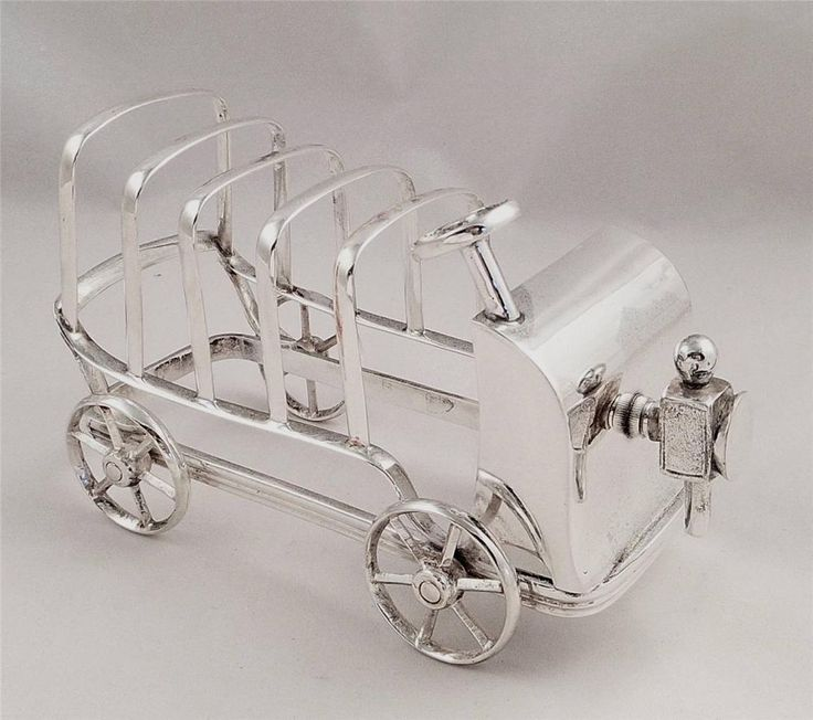 SUPERB ANTIQUE SILVER PLATED NOVELTY CAR TOAST/LETTER RACK US $493.19 in Antiques, Silver, Silverplate