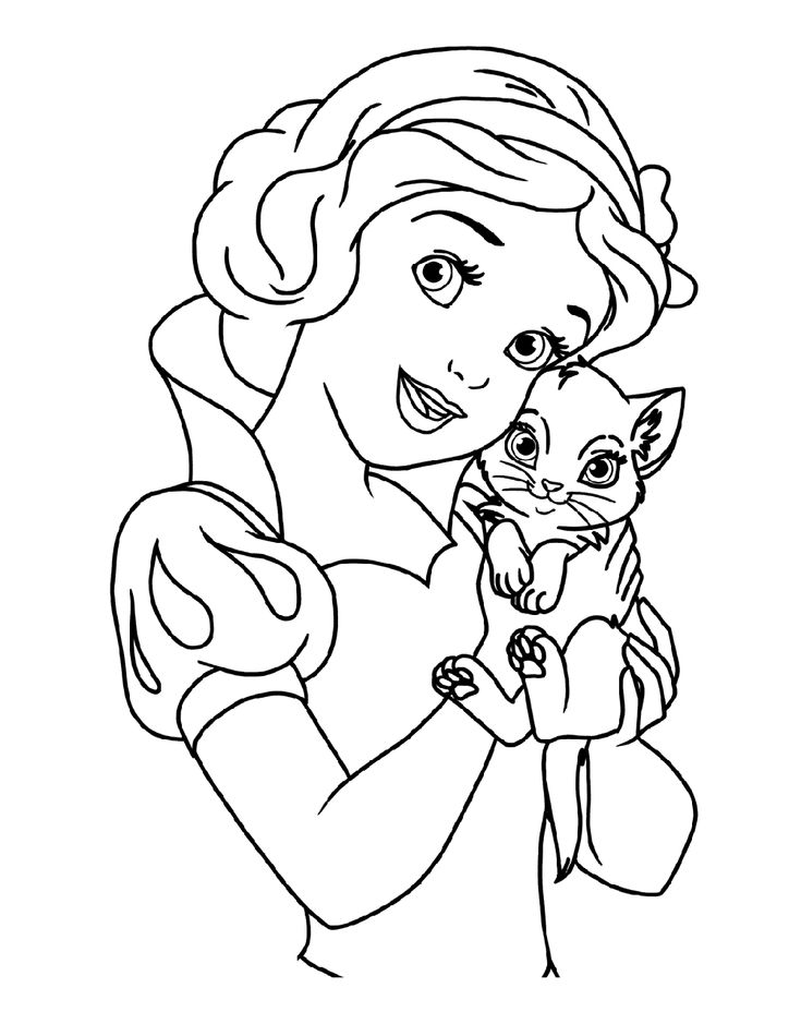 Snow White and Cat Coloring Pages for Girls Educative
