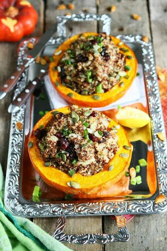 FABULOUS!! Quinoa Filled Pumpkins -- yummy meal idea & spectacular for holiday get togethers! #fall